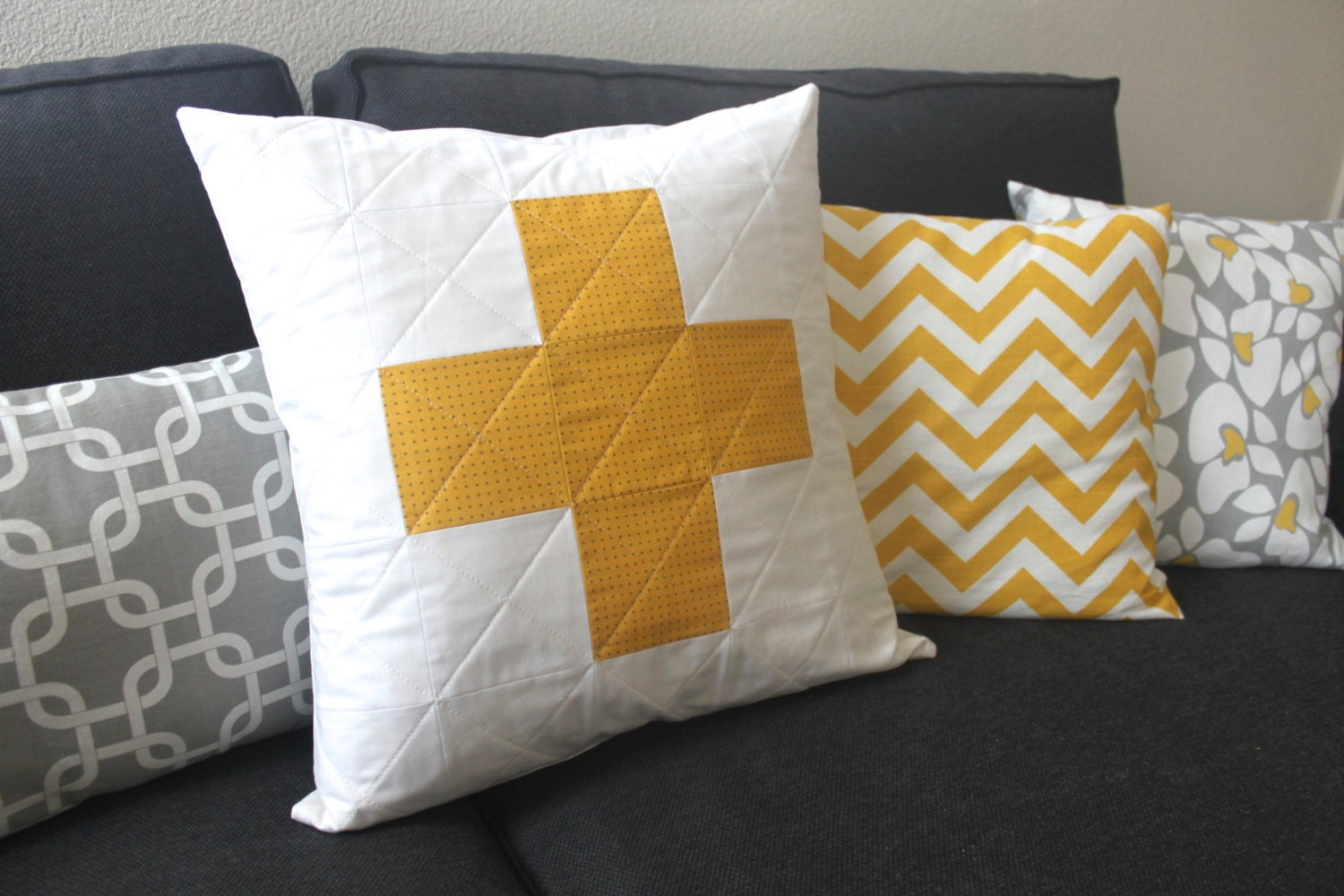 Modern Quilted Pillow Covers : Modern Quilted Plus Sign Pillow Cover 20x20 White Yellow