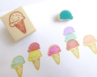 Ice cream rubber stamp, Summer decor, Yummy ice cream, Double combo, Sweets stamp, Japanese stationery, Kawaii Japan Cute decor Scrapbooking