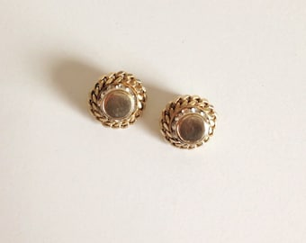 Vintage Clip Back Round Earrings in Gold with Rhinestones