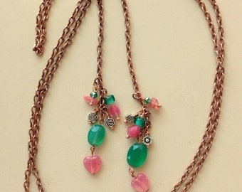Very Long Chain Gemstone Lariat - Chalcedony and Rhodochrosite Hearts - Mixed Metals Lariat