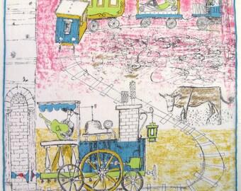 Vintage Love Train in Spain Handkerchief - Hankie w Whimsical Art - Guitar Serenade, Man Waits in Sleeping Car, Pastoral Cow - Orig Nelo Tag