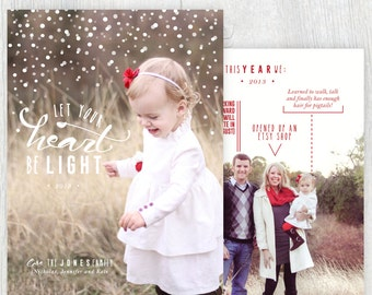 Printable Christmas card with photos - Let your heart be light - Family facts - Falling snow - Holiday card - Customizable