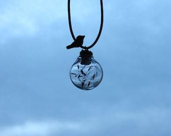 Flower ball bird dandelion leather chain