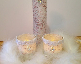 Winter Wedding Centerpiece - Wedding Candle Centerpiece - Wedding Candles - Elegant Wedding Decor - Wedding Vase - Table Top Decor