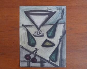"""Bernard Buffet Lithograph """"Fruit-Dish"""" Mid-Century Modern Fine Art Print 1950s"""