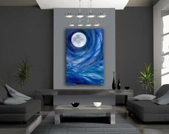 OVERSIZED Full moon canvas giclee print of original acrylic painting blue, purple, green - Moontides II - by Kauai Hawaii artist Donia Lilly