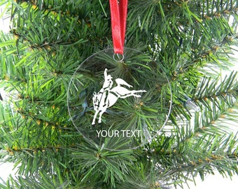 Personalized Custom Bucking Horse, Rodeo Clear Acrylic Christmas Tree Ornament
