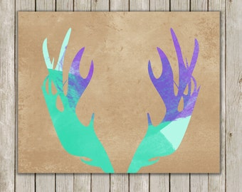 8x10 Moose Antler, Moose Head Antlers, Deer, Antler Art, Watercolor Art, Home Decor, Antler Wall Art, Antler Wall Print, Instant Download