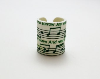 Custom (eg: Stratovarius Elysium) Lyrical Notes Ring Set of Two Rings