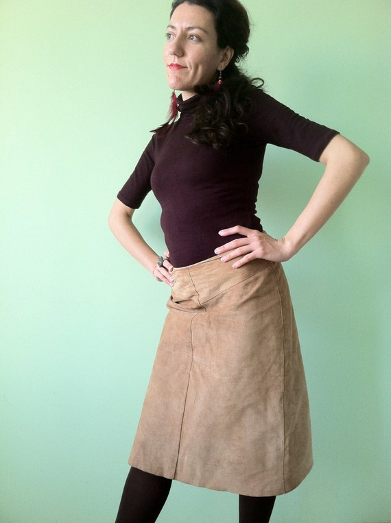 Tan Suede A Line Skirt - Dress Ala