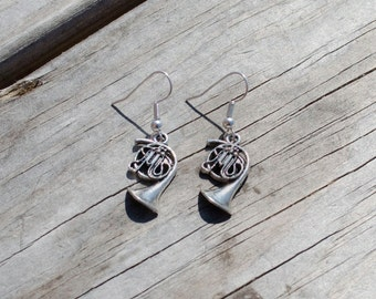 Silver French Horn Earrings, French Horn Jewelry, French Horn Charm, Graduation Gift, High School Graduation Gift