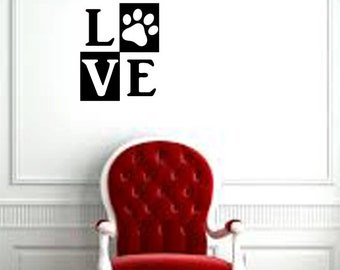"""Love (with paw) pet/animal wall decal (10"""" X12.5"""")"""