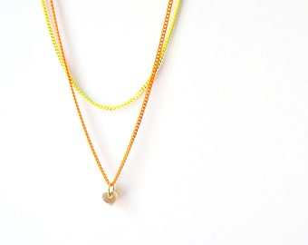 Orange and Yellow Neon Double Layerd Necklace with Tiny Gold Heart Pendant