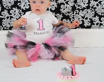 Pink Black Princess Crown Birthday Tutu Outfit