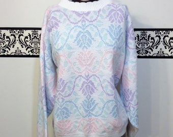 1980's Pastel Pattern Hipster Knit Sweater, Size XL, Vintage 1980's Preppy Baggy Knit Sweater, Breakfast Club, Molly Ringwold