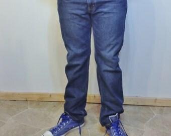 90's Men's Levi's 505 Jeans 33 X 32 in Denim Blue, Vintage Boyfriend Jeans, Men's Straight Leg 90's Levi 505 33X32