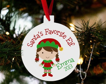 personalized christmas ornament kids toddlers  - santa's favorite elf - yearly ornament SECO