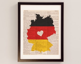 Germany Dictionary Art Print - Deutschland Art - Print on Vintage Dictionary Paper - German Flag, Any Color - Berlin, Frankfurt, Munich