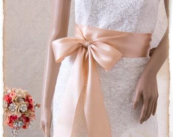 Wedding Sash Belt, Bridal Sash, BLUSH Wedding Sash, Satin Ribbon Bridal Belt, Rose Gold Bridal Sash, Satin Bridal Sash