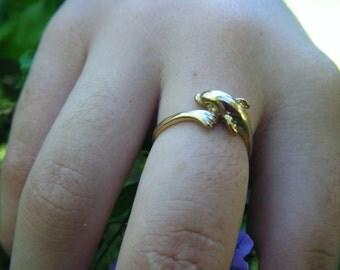 GOLD dolphin ring, gold porpoise, beach wedding ring, beach bridesmaid ring, ocean birthday gift, animal ocean conservation marine biology