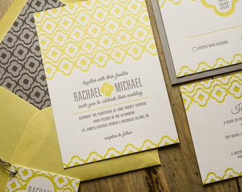Yellow & Gray Wedding Invitation, Yellow Wedding Invite, Moroccan-tile Invitation, Gray Invitation - Sample Set