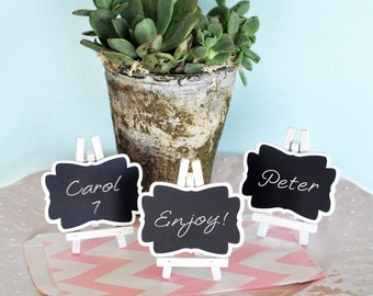 Shabby Chic Baby SHower Chalkboard Place Cards - Small ChalkBoards - Mini Chalkboards with Easel (EB2372) - 24| pcs