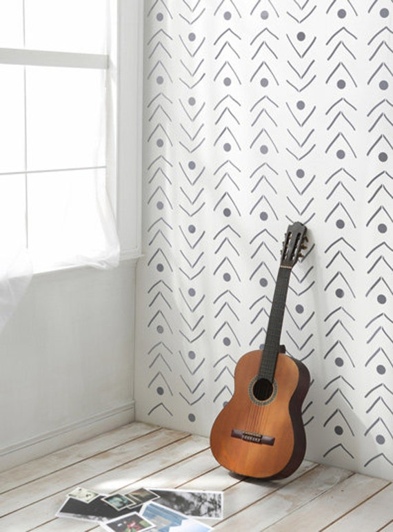 Wallpaper Wall Stencils : Fishlane decorative scandinavian wall stencil by stencilit