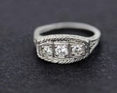 18K Gold Trio and Diamond Ring with Rope Engraved Border