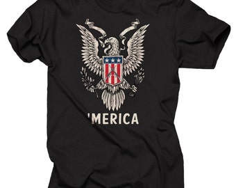 USA Freedom Eagle And Flag  'Merica  Cool Patriotic T-shirt Tee Shirt
