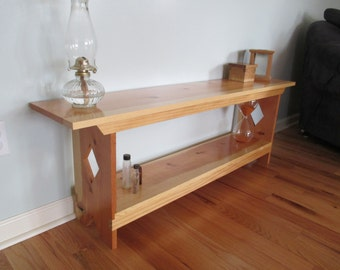 Handmade Entry Bench Bookcase Solid White Pine-- Sun Tanned Pine Diamond Cutouts -- Clear Lacquer Finished Entryway Settee