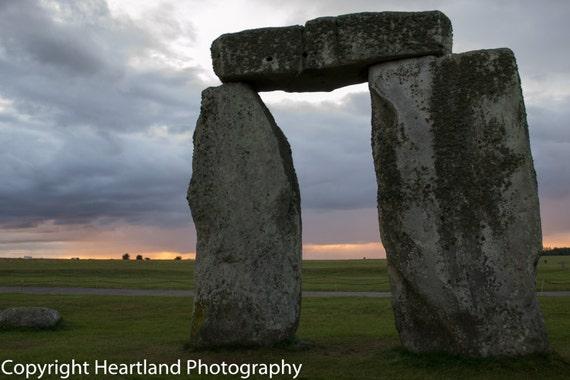 Stonehenge Print, Sunset Photography, UK Images, British Prints, UK Landscape, Cloudy Photo, Rainy Sunset, UK Monument, World Heritage