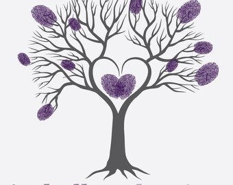CUSTOM Baby Shower Fingerprint Tree Guest Book   Digital File