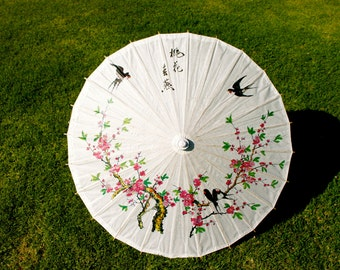 Paper Parasol. Paper Umbrella. Vintage. Pink Cherry Blossoms. Black Birds.