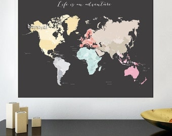 Printable world map etsy 60x48 printable world map diy travel pinboard map 60x48 world map pastel gumiabroncs Image collections