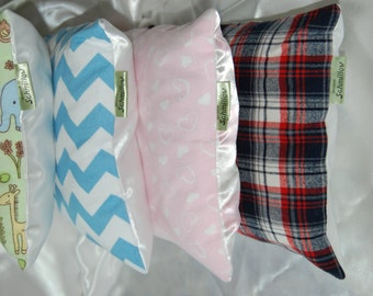 Toddler Pillow - Flannel and Satin- made in Maine