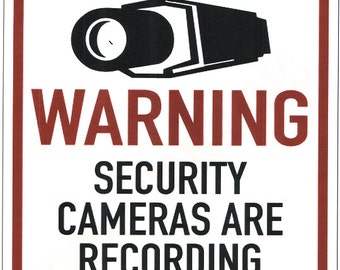 Security Warning Sign, Home Security Window Sign, Camera Recording Warning Sign, Video Recording Signs - DOWNLOAD or email