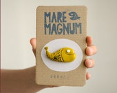 Cheerful yellow Fish pin brooch- Fun and Curious sea life creatures - hand sculpted in polymer clay - Cute handmade animals