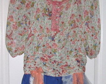 Upcycled, Blouse, Tunic, Mini Dress, Boho, Shabby, Hippie