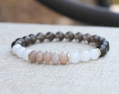 Mala Beads Yoga Bracelet Healing Crystal, Smoky Quartz, Moonstone, Sunstone - Happiness, Luck