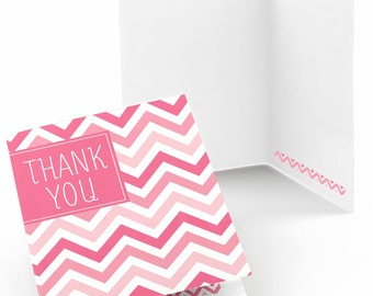 Set of 8 Thank You Cards - Pink Chevron Greeting Card