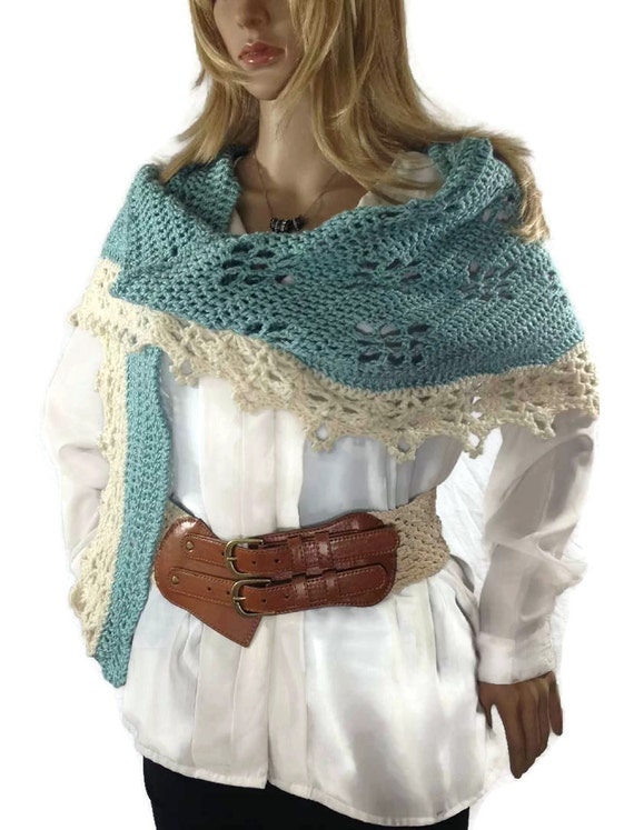 Outlander Claire Shawlette French Lace Blue Narrow Shaweltte Aqua Crescent Fraser  Diana Gabaldon FREE SHIPPING