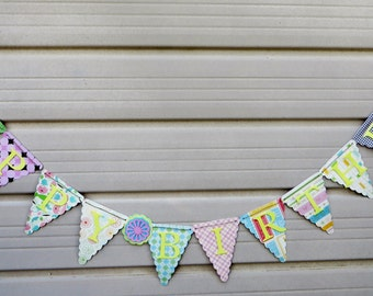 Spring , HAPPY BIRTHDAY BANNER, Birthday Banner, Pink Birthday Decorations, Girls Birthday Banner, Pink Birthday Banner, Adult Birthday