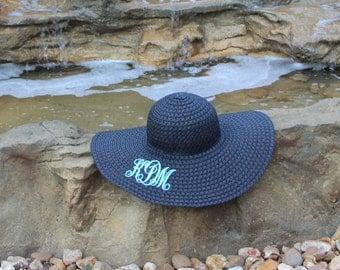 SALE--While they LAST----Monogrammed Floppy Straw Hat/ Beach Hat/ Sun Hat/ Bridesmaids