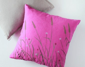 Linen Pillow Cover - Fuchsia Floral Meadow Throw Cushion Cover - Decorative Throw Pillows - Kissen, Kissenbezug | 0059