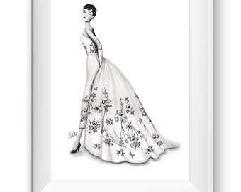Fashion illustration print, Fashion art, girl art, girls room art, watercolor - Timeless Audrey