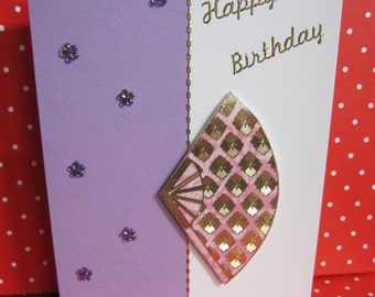 Handmade Card Happy Birthday with Pink and Gold Fan