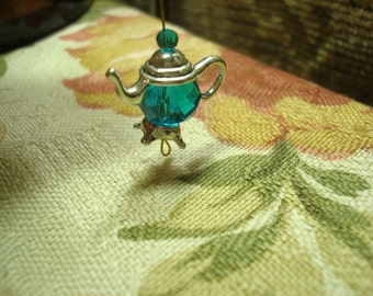 4 Sets Charming TeaPot Bead Caps. Dainty Antique Silver Teapot Dangles. 26 x10mm  Comes with 4 Extra Double Bead Caps for Alternate Bottoms