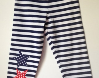 Girl's Size 8 Capri Leggings Navy and White Stripped with 3 Added Stars Appliqued on Leg, 96% Cotton, Other 4 is Spandex
