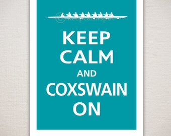 Keep Calm and COXSWAIN ON Typography Print 11x14 (Featured color: Surf Blue--choose your own colors)