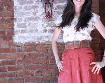 Coral High Waisted A-line Skirt ~ Small